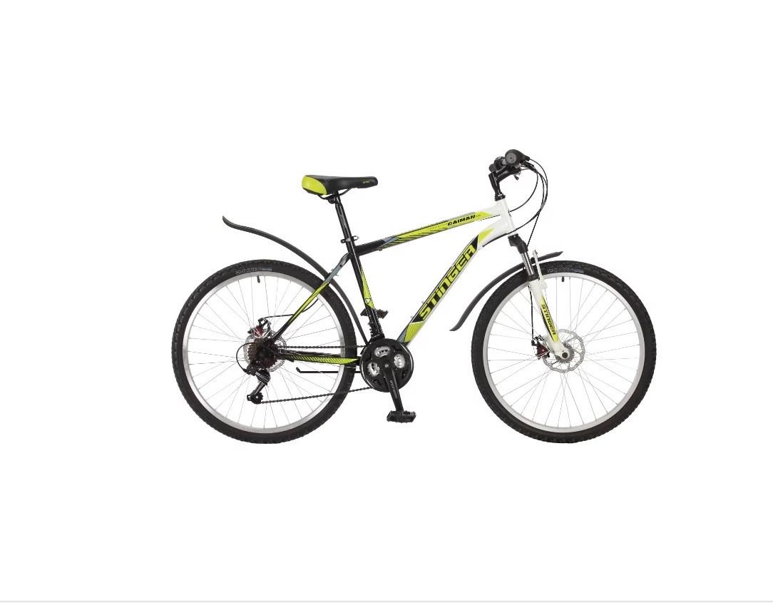 "Горный велосипед Stinger Caiman D 2017 рама 16"" зеленый"