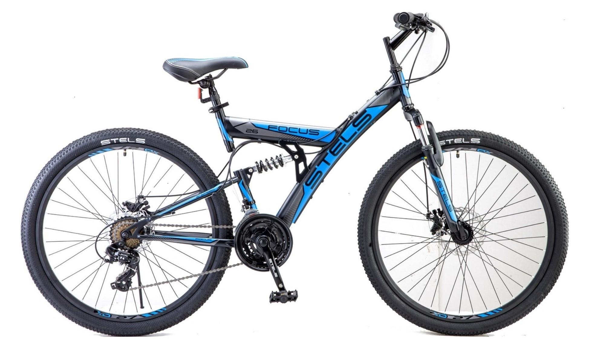 """Двухподвесный велосипед Stels Focus MD 21-sp 2018 V010 рама 18"""" черный/синий"""