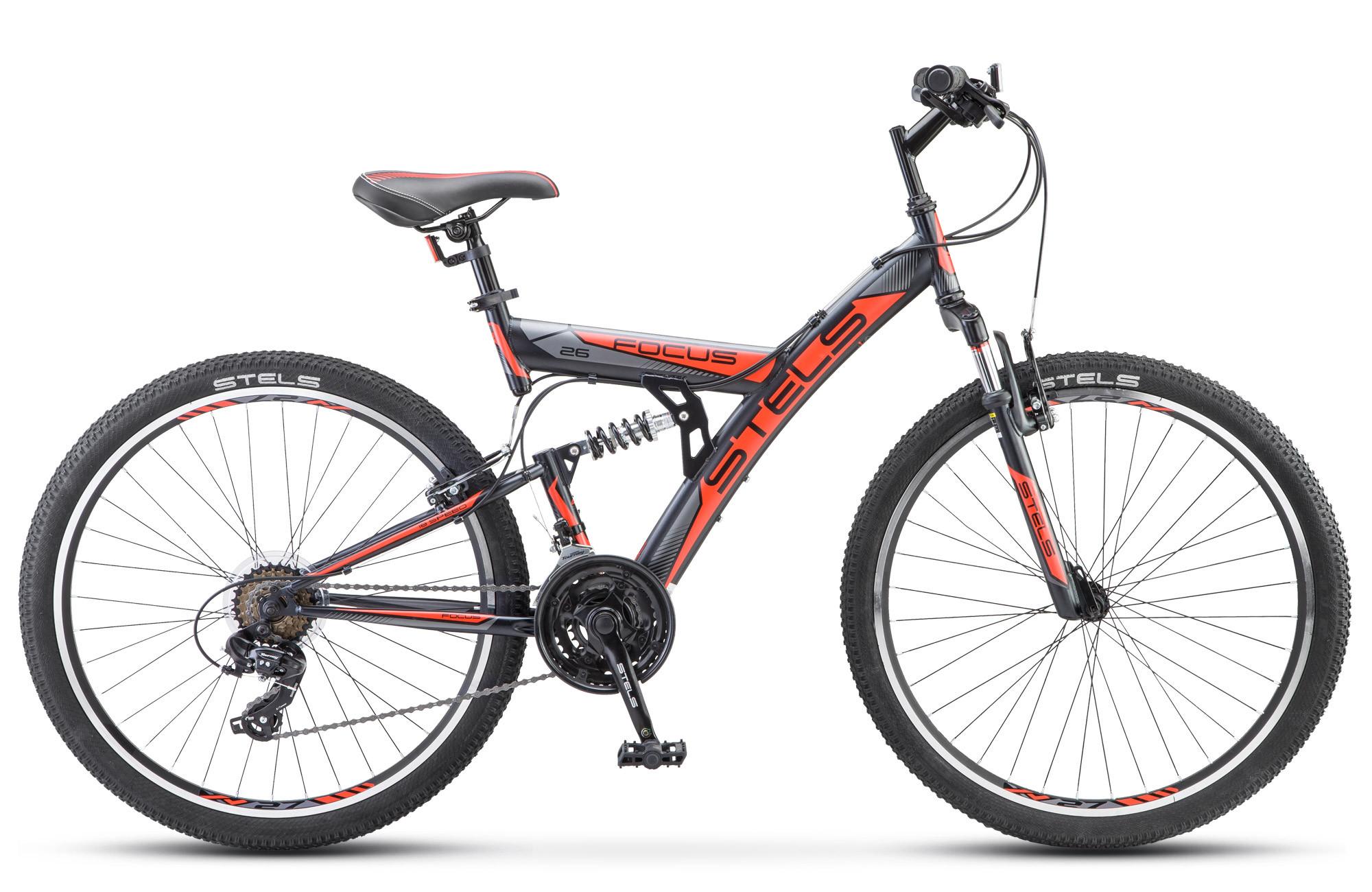 """Двухподвесный велосипед Stels Focus V 18-sp 2018 V030 рама 18"""" черный/красный"""