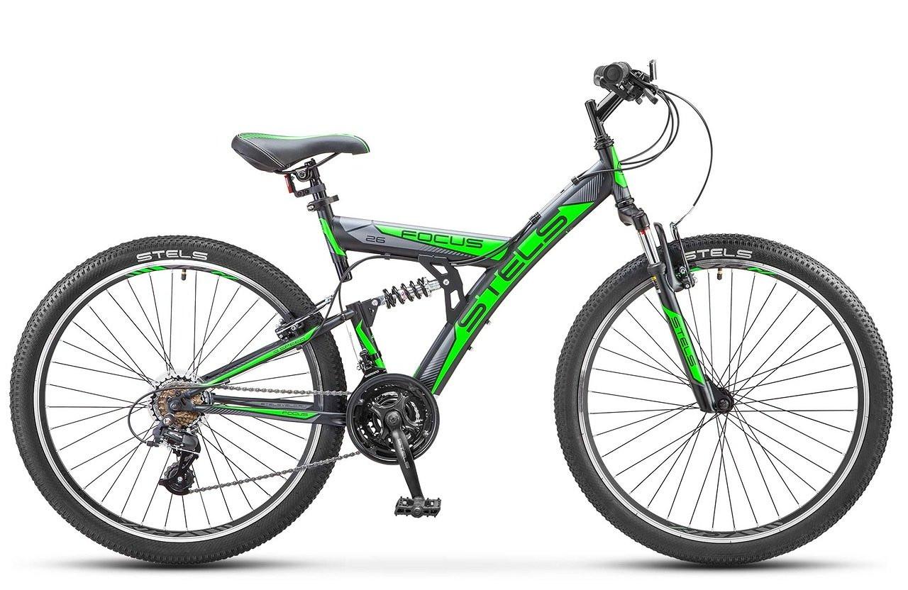 """Двухподвесный велосипед Stels Focus V 21-sp 2017 V030 рама 18"""" черный/зеленый"""