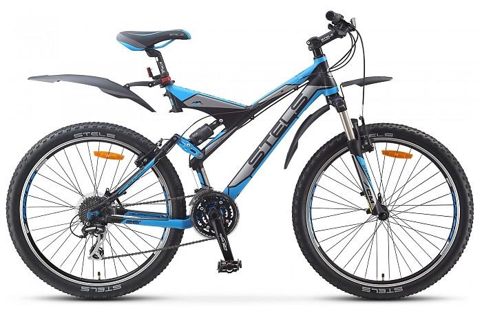 """Двухподвесный велосипед Stels Navigator V 2015 рама 20,5"""" черный/серебристый/голубой"""
