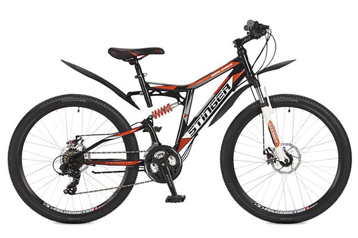 """Двухподвесный велосипед Stinger Highlander 200D 2017 рама 16"""" черный"""