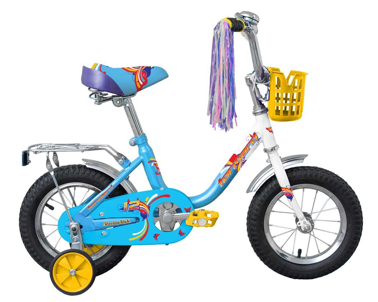 """Детский велосипед Forward Racing girl 12"""" белый/синий"""
