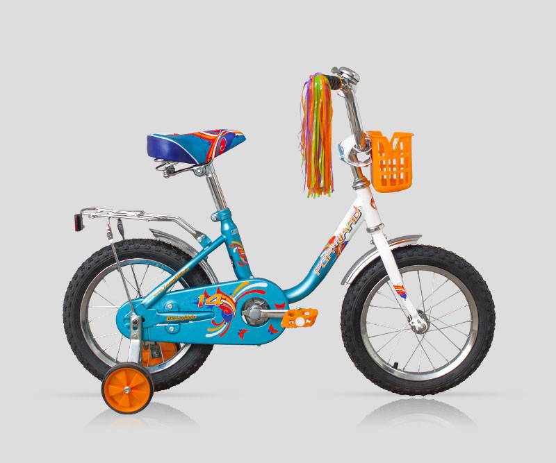 """Детский велосипед Forward Racing girl 2016 14"""" белый/синий"""