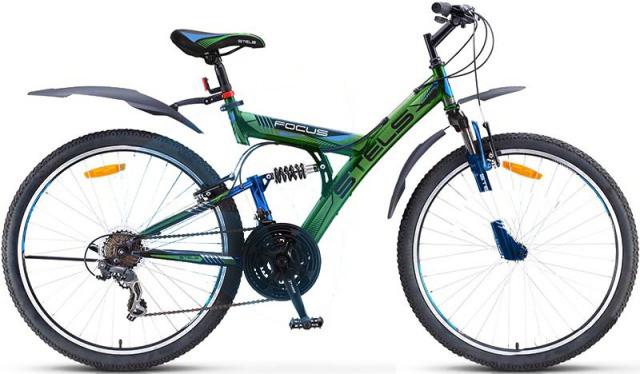 """Двухподвесный велосипед Stels Focus V 18-sp 2017 V030 рама 18"""" черный/зеленый"""