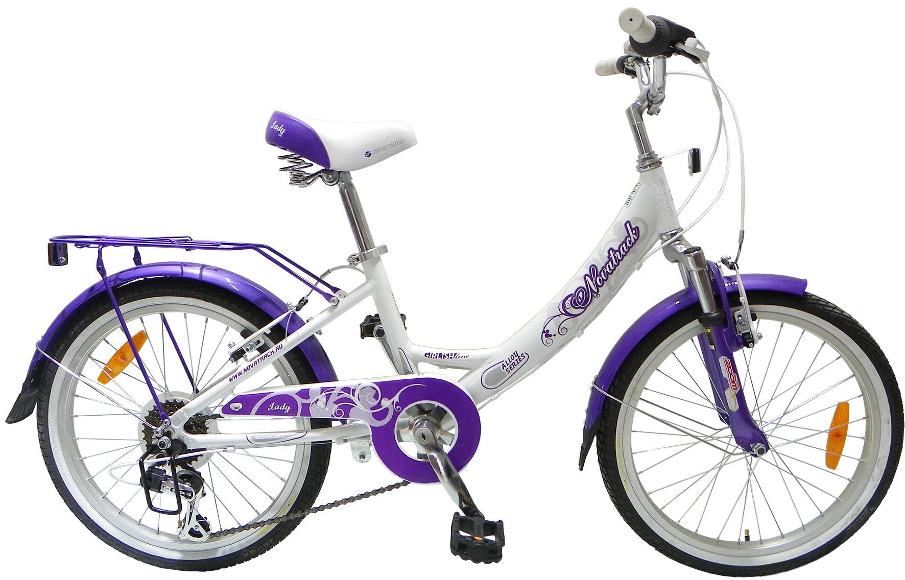 """Детский велосипед Novatrack Girlish Line 2015 20"""" белый/фиолетовый"""