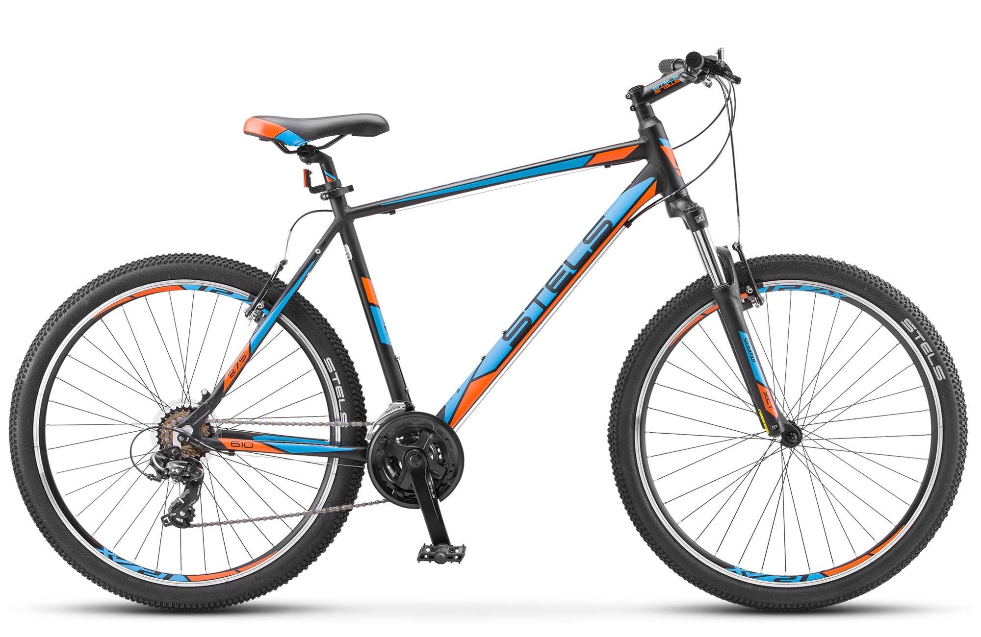 """Горный велосипед Stels Navigator-610V 2017 V020 рама 17,5"""" черный/голубой/оранжевый"""