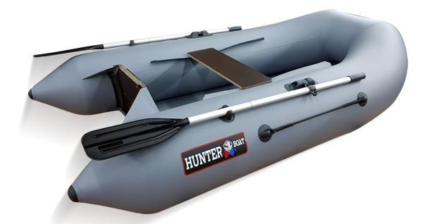 Надувная моторно-гребная лодка Хантер 240 Серая