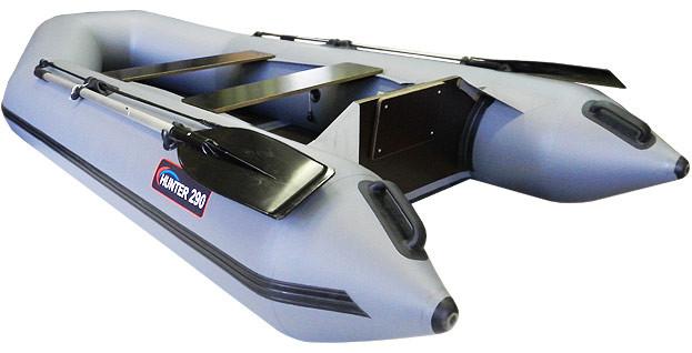 Надувная моторно-гребная лодка Хантер 290 Л Серая