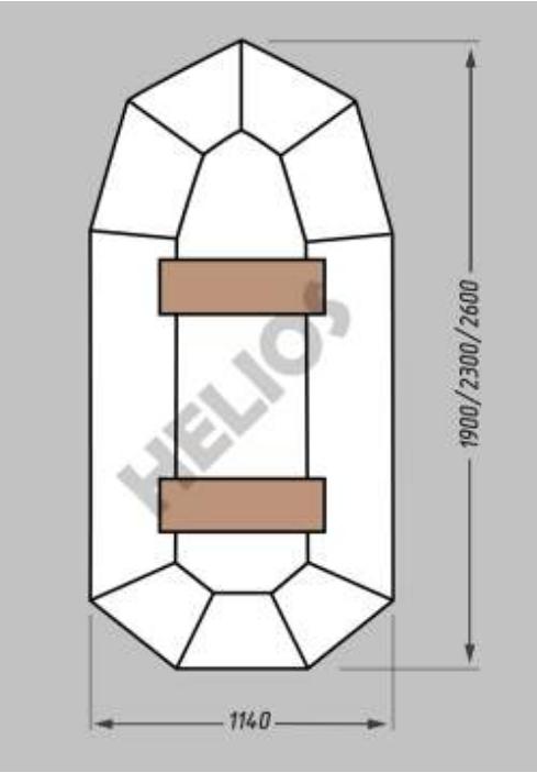 Надувная гребная лодка Helios Гелиос-19