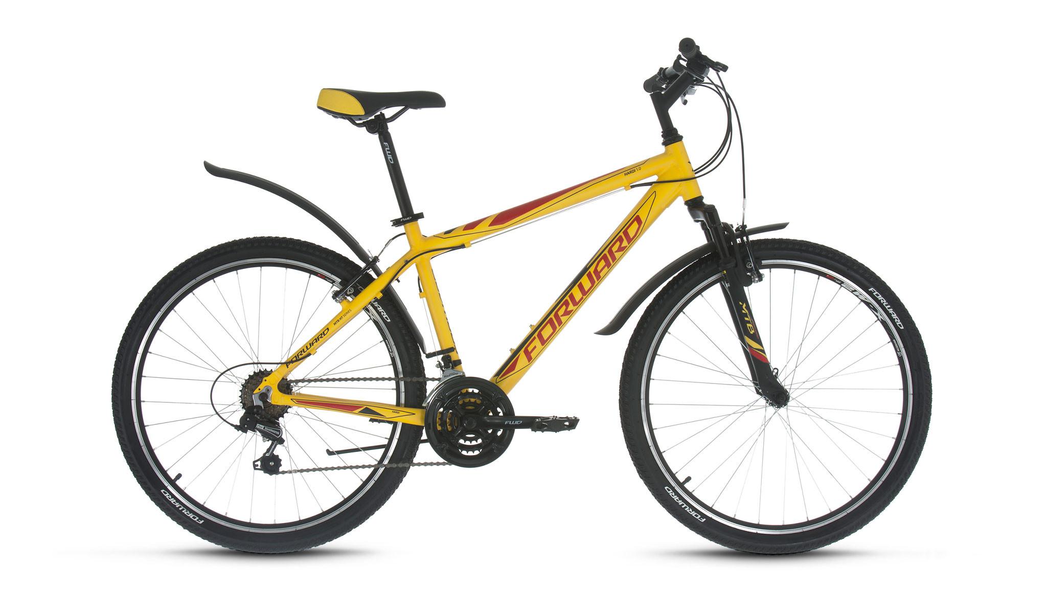 """Горный велосипед Forward Hardi 1.0 2018 рама 17"""" желтый матовый"""