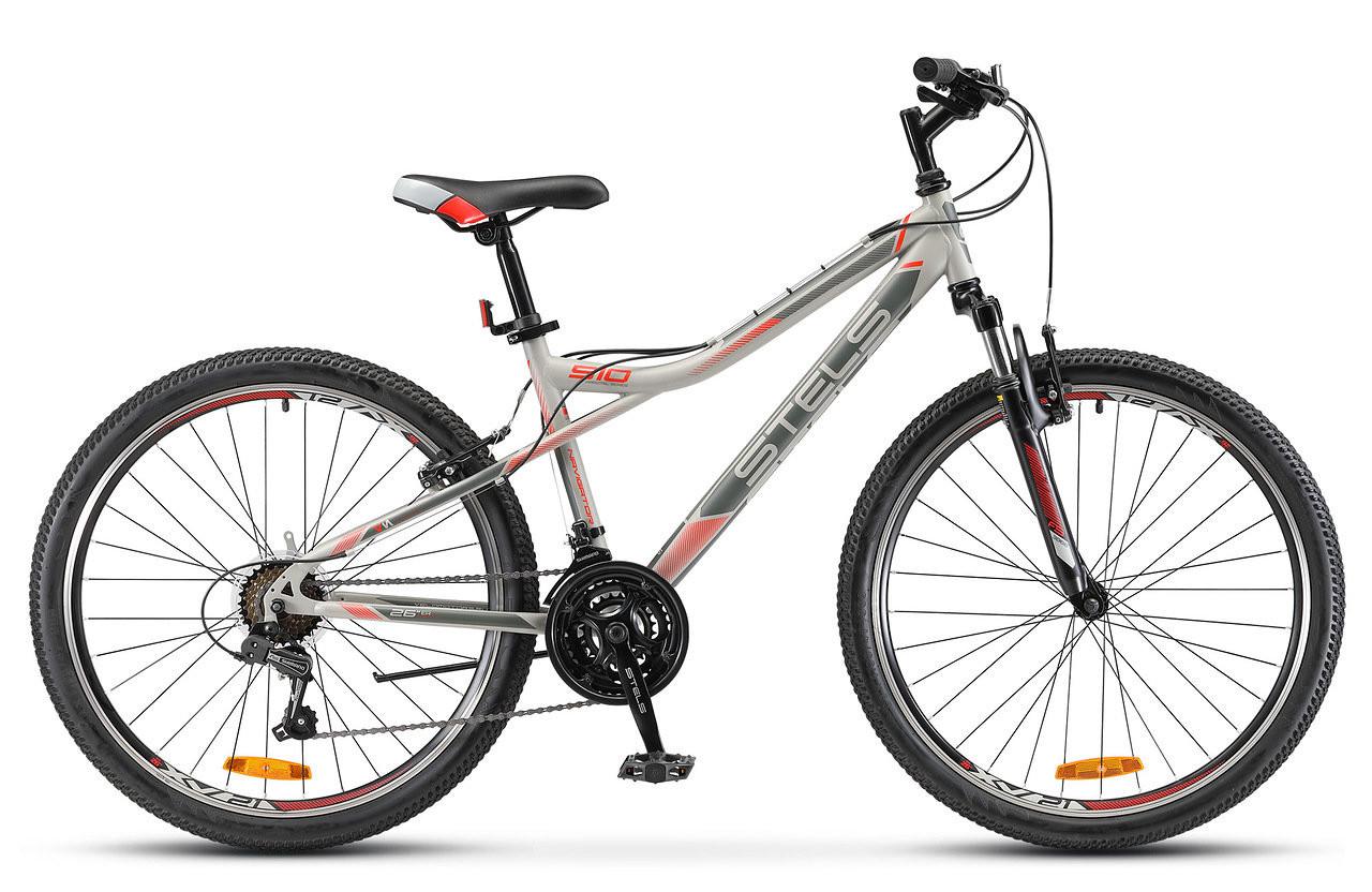 "Горный велосипед Stels Navigator-510V 2018 V030 рама 14"" серый/красный"
