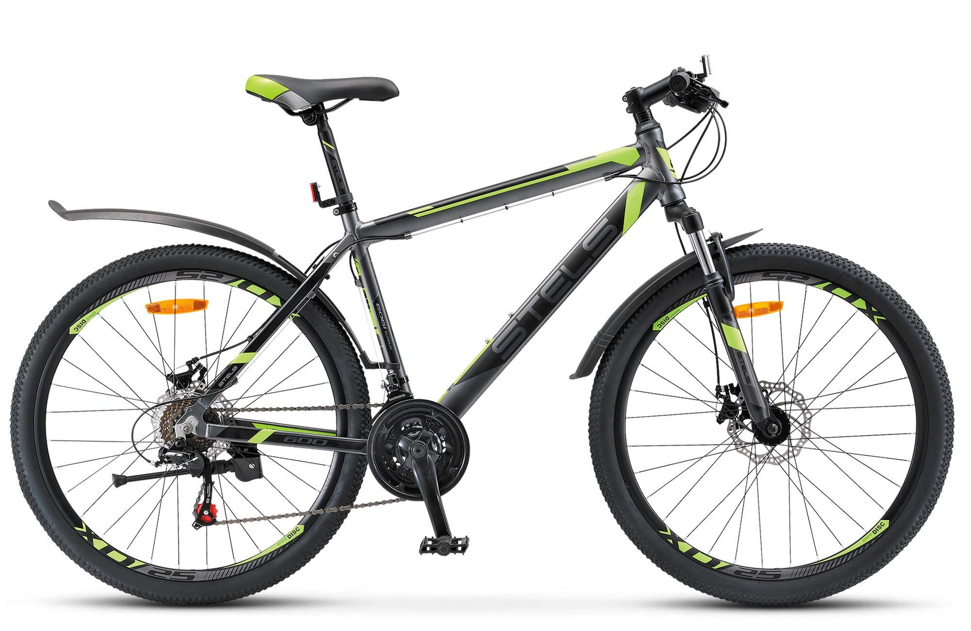 """Горный велосипед Stels Navigator-600V 2017 V020 рама 16"""" антрацитовый/зеленый"""