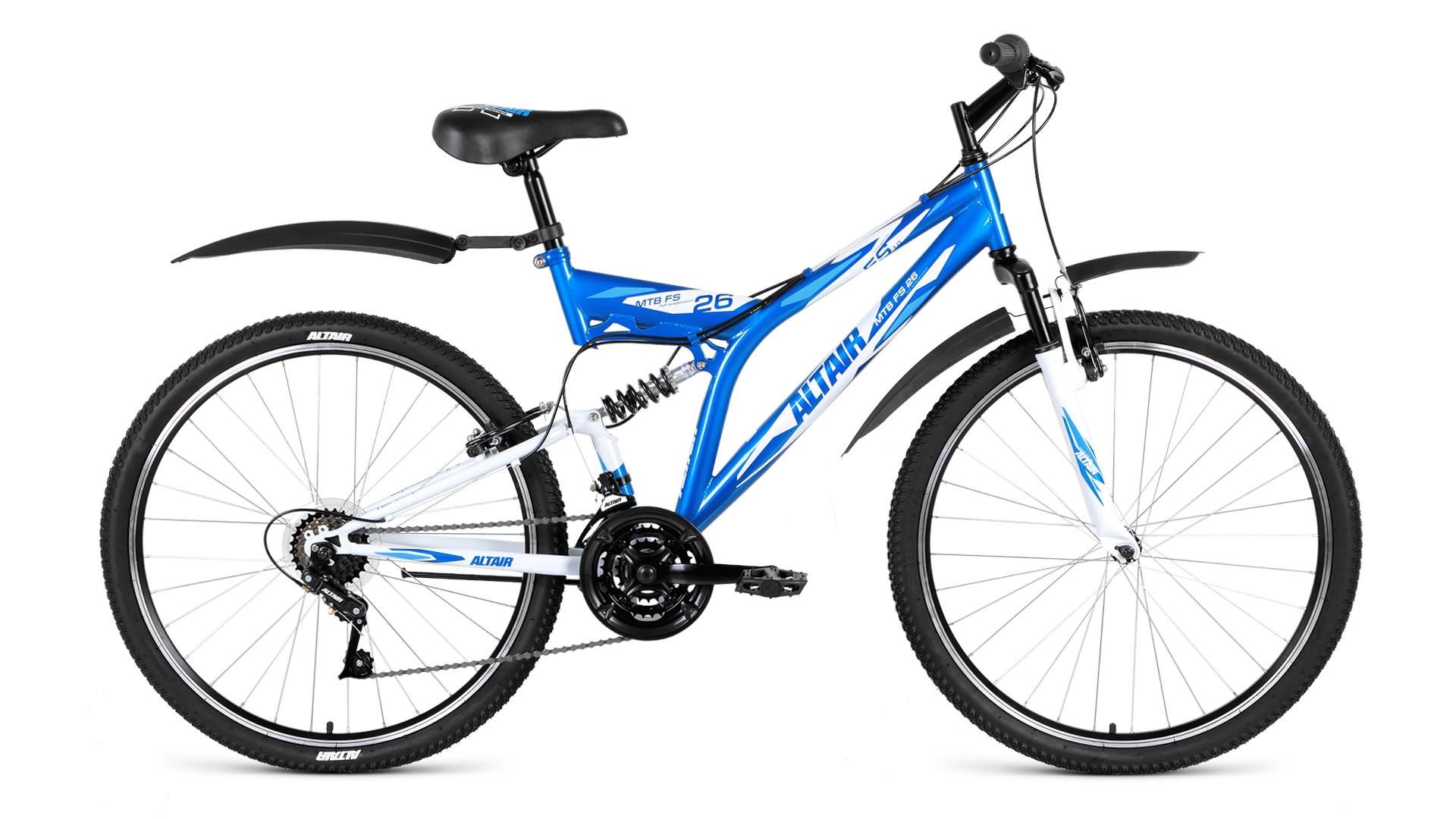 """Двухподвесный велосипед Altair MTB FS 1.0 2018 рама 16"""" синий/белый"""