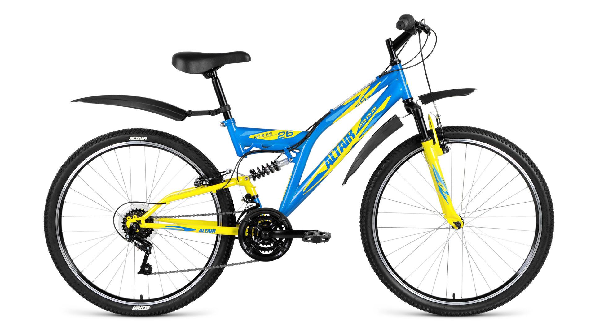 """Двухподвесный велосипед Altair MTB FS 1.0 2018 рама 16"""" синий/желтый"""