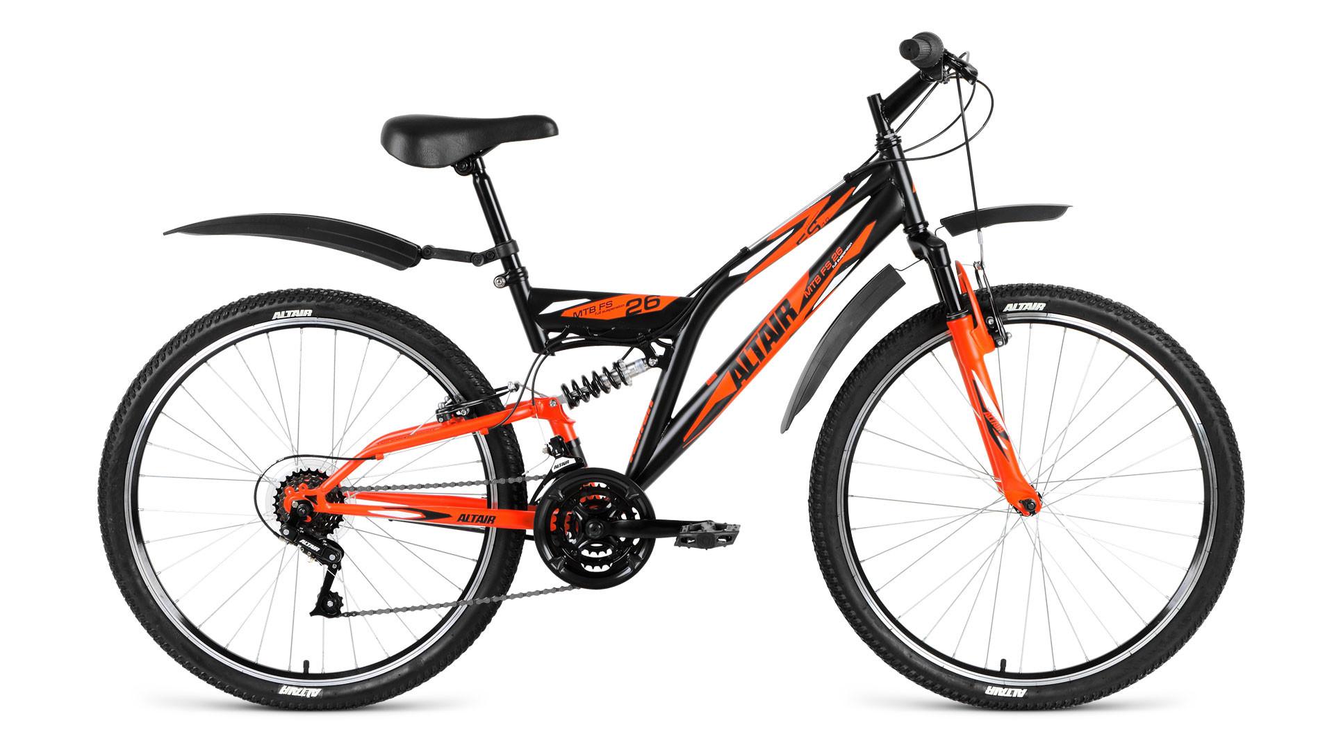"""Двухподвесный велосипед Altair MTB FS 1.0 2018 рама 16"""" черный/оранжевый матовый"""