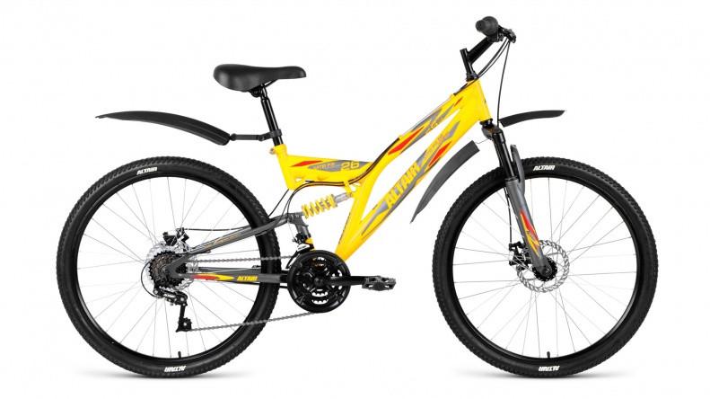 """Двухподвесный велосипед Altair MTB FS 2.0 Disc 2018 рама 16"""" желтый/серый матовый"""