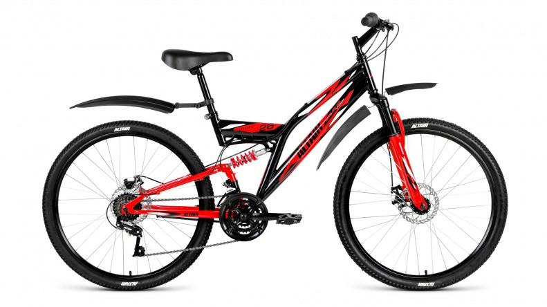 """Двухподвесный велосипед Altair MTB FS 2.0 Disc 2018 рама 16"""" черный/красный"""