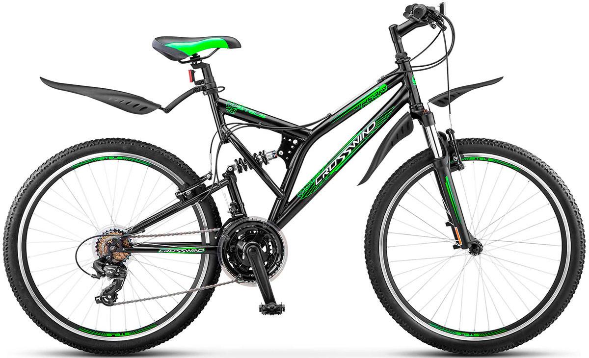 """Двухподвесный велосипед Stels Crosswind 2017 Z010 рама 20"""" черный/салатовый"""