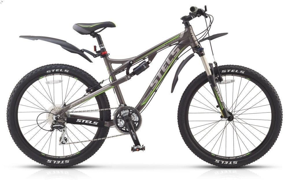 """Двухподвесный велосипед Stels Tornado V 2015 рама 17"""" темно-серый/серебристый/зеленый"""
