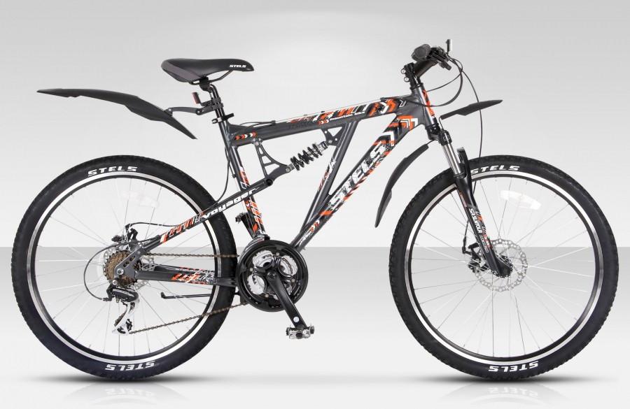 """Двухподвесный велосипед Stels Voyager MD 2015 рама 19"""" темно-серый/оранжевый/белый"""