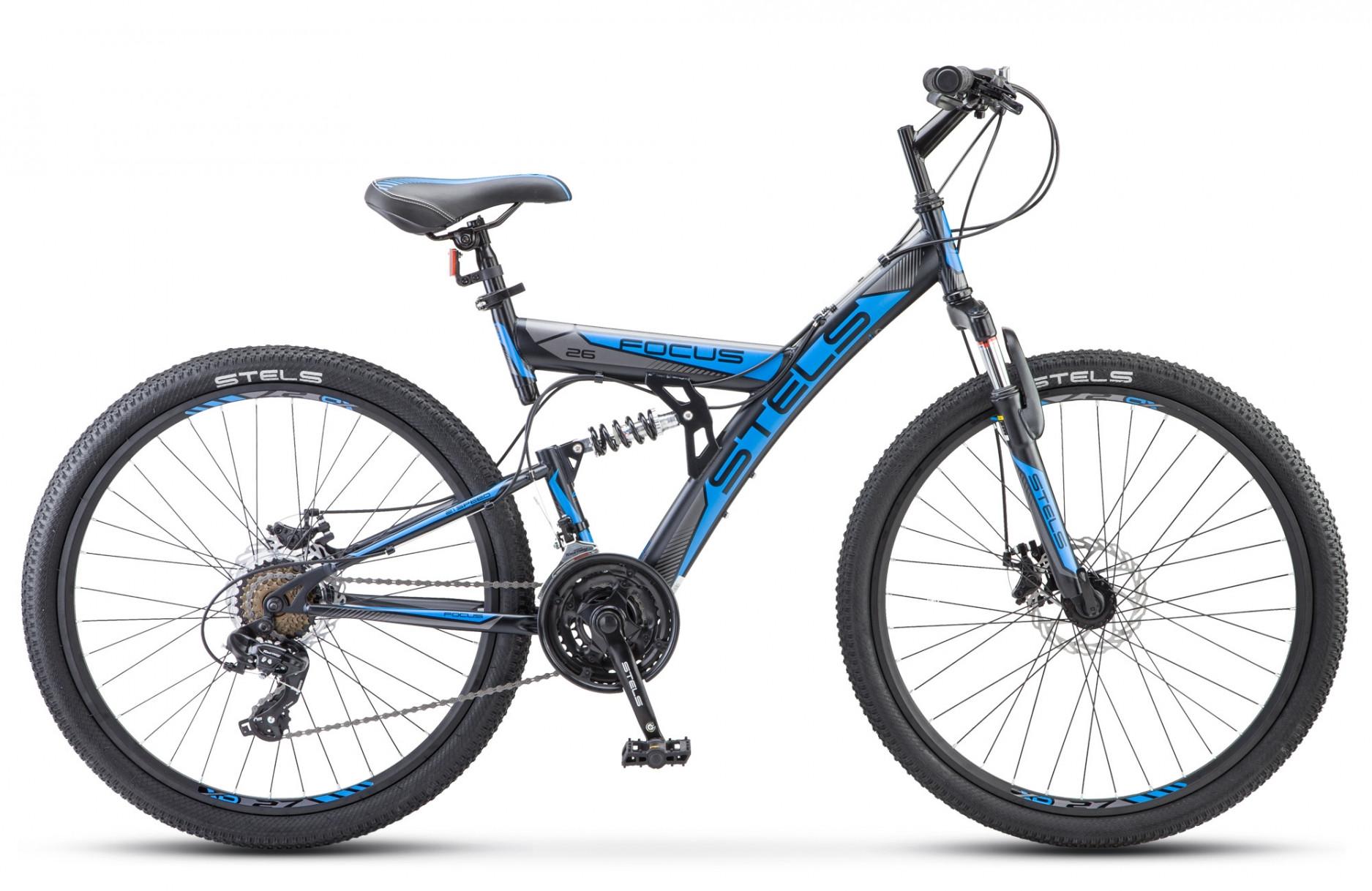 """Двухподвесный велосипед Stels Focus MD 21-sp 2018 V010 рама 19"""" синий"""