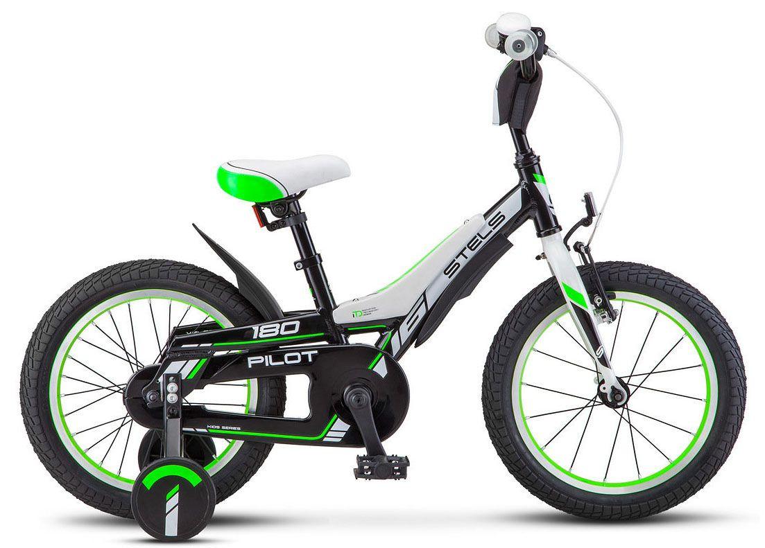 """Детский велосипед Stels Pilot-180 2018 16"""" черный/зеленый"""