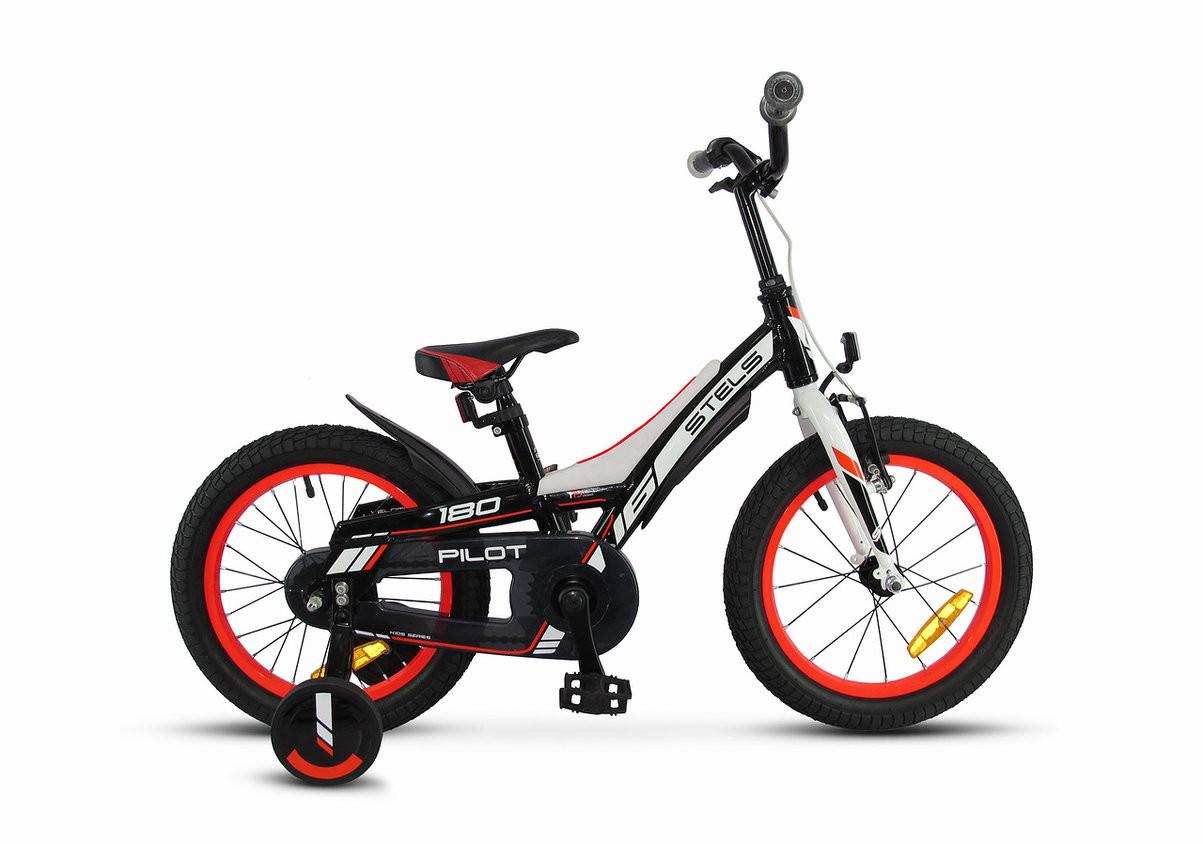 """Детский велосипед Stels Pilot-180 2018 16"""" черный/красный"""