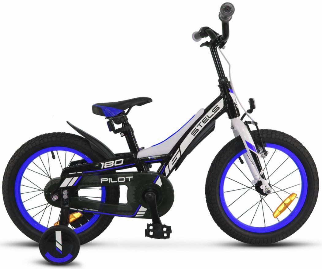 """Детский велосипед Stels Pilot-180 2018 16"""" черный/синий"""