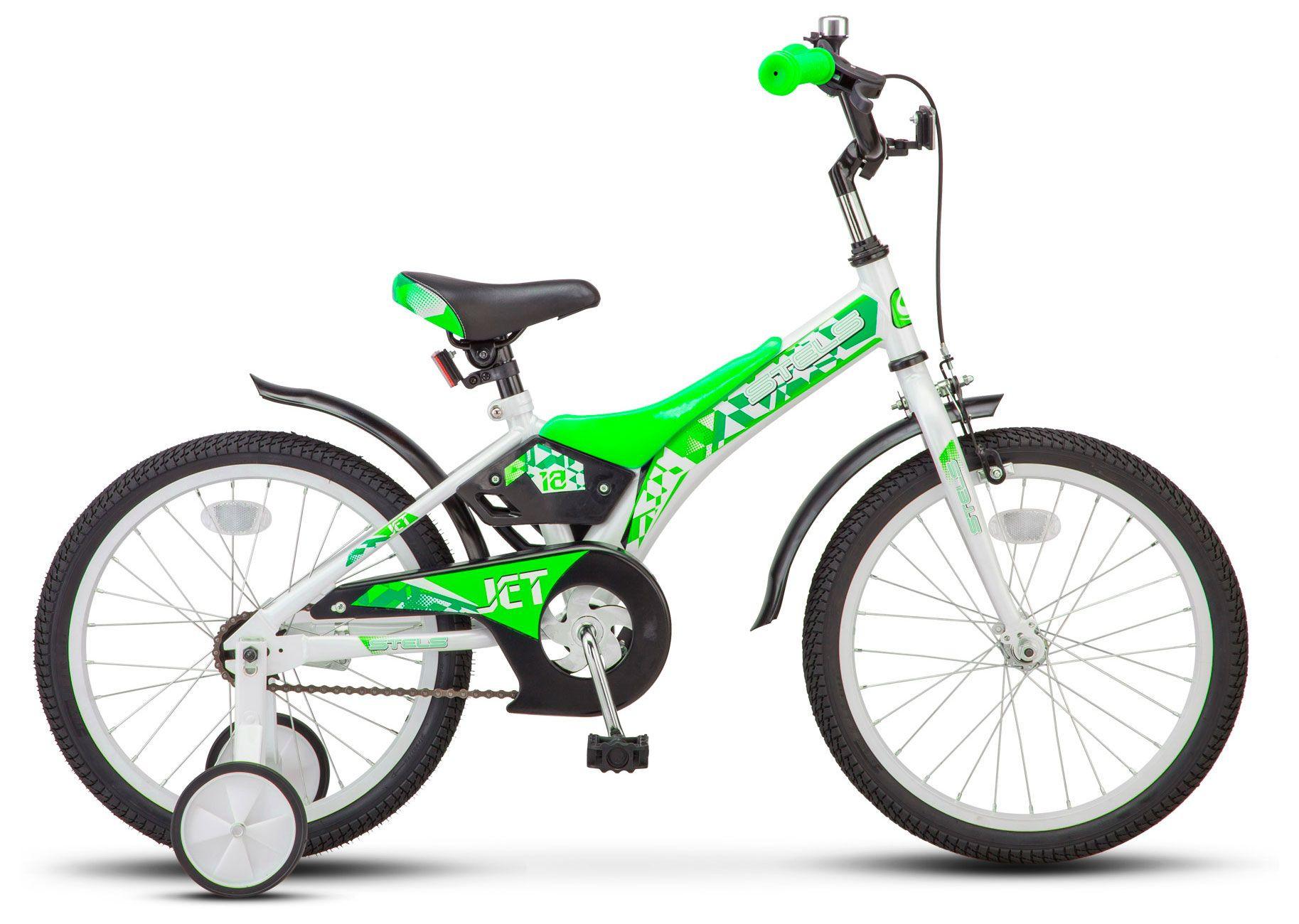 """Детский велосипед Stels Jet 2018 Z010 18"""" белый/салатовый"""
