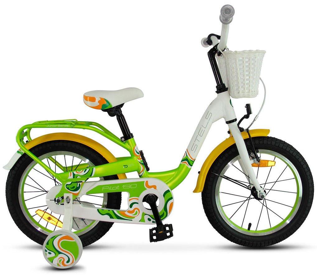 """Детский велосипед Stels Pilot-190 2018 V030 18"""" зеленый/желтый/белый"""