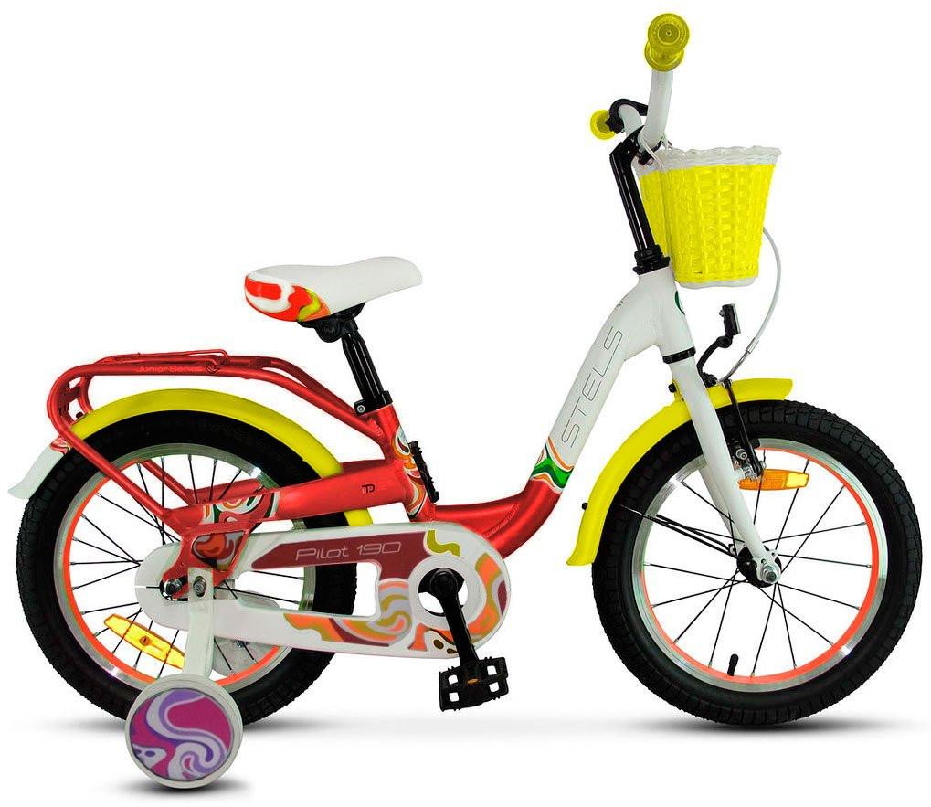 """Детский велосипед Stels Pilot-190 2018 V030 18"""" красный/желтый/белый"""