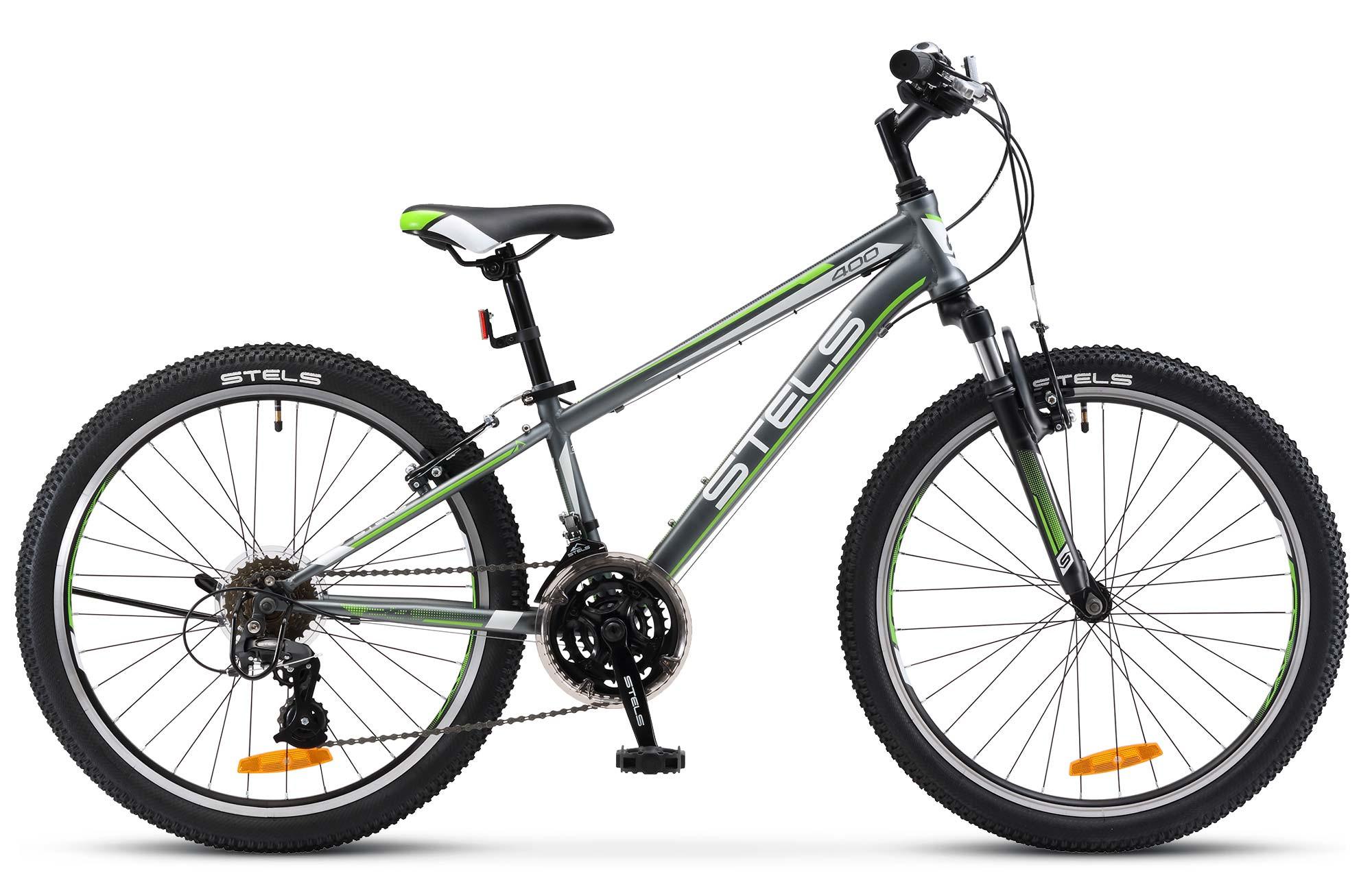 """Детский велосипед Stels Navigator-400V 2018 24"""" V031 серый/зеленый/белый"""