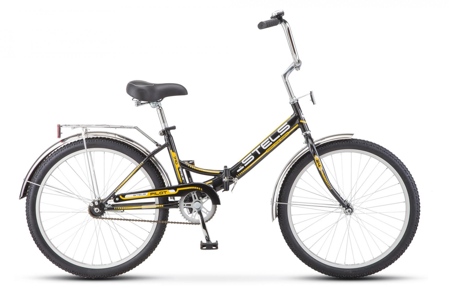 Складной велосипед Stels Pilot-710 2018 Z010 черный/желтый