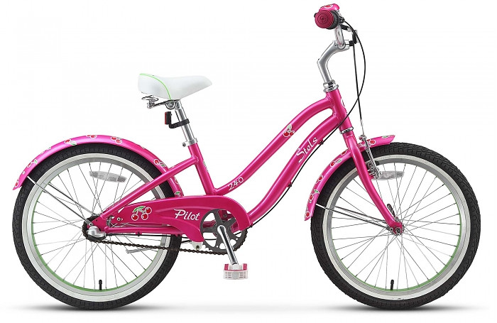 Детский велосипед Stels Pilot-240 Lady 3-sp 2015 розовый/салатовый
