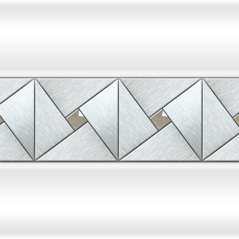 Декоративная отделка фронтальной панели: вертикальная вставка АРТ-МОЗАЙКА Chrome